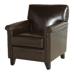 Great Deal Furniture - Bristol Leather Club Chair - No slouch, this smartly tailored club chair offers all the lavish details you love in a traditional armchair but on a smaller scale, so you can it expect it to work wonders anywhere from your home environment to the office. It's classically structured, but not in the least stuffy.
