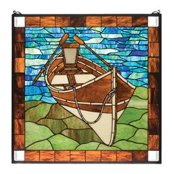Meyda Tiffany - Meyda Tiffany Meyda Originals Window Sill Tiffany Window Art in Muliple Color - Shown in picture: Beached Guideboat Stained Glass Window