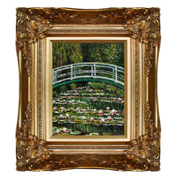 overstockArt.com - Monet - The Japanese Bridge Oil Painting - Hand painted oil reproduction of a famous Monet painting, The Japanese Bridge. Today it has been carefully recreated detail-by-detail, color-by-color to near perfection. Why settle for a print when you can add sophistication to your rooms with a beautiful fine gallery reproduction oil painting? While Monet successfully captured life's reality in many of his works, his aim was to analyze the ever-changing nature of color and light. Known as the classic Impressionist, Monet cannot help but inspire deep admiration for his talent in those who view his work. This work of art has the same emotions and beauty as the original. Why not grace your home with this reproduced masterpiece? It is sure to bring many admirers