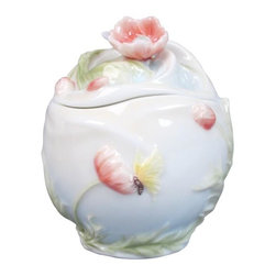 US - 3.25 Inch Glazed Porcelain Condiment Jar Poppy Lid Butterfly Motif - This gorgeous 3.25 Inch Glazed Porcelain Condiment Jar Poppy Lid Butterfly Motif has the finest details and highest quality you will find anywhere! 3.25 Inch Glazed Porcelain Condiment Jar Poppy Lid Butterfly Motif is truly remarkable.