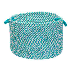 "Colonial Mills, Inc. - Outdoor Houndstooth Tweed, Turquoise Utility Basket, 14""X10"" - You'll never stumble over clutter again. This deep, sturdy utility basket can handle a heavy load. Plus, you gotta love the clever houndstooth pattern!"