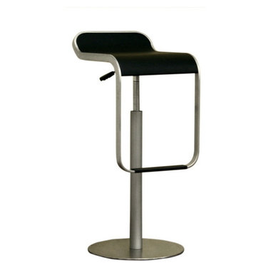 Baxton Studio - Baxton Studio Black Adjustable Bar Stool Set of 2 - Accentuate your home bar or counter with this contemporary style barstools. Crafted of curved composite wood with brush finish and steel base with stainless steel plated. Seat and food rest feature vinyl padding with a black finish. Adjustable gas-lift design with swivel base. Its perfect combination of quality craftsmanship and simple, sophisticated designs will instantly enhance your living space.