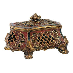 Sterling Industries - Sterling Industries Barnum Box X-3883-19 - Pierced detailing adds unique interest to this Sterling Industries box. From the Barnum Collection, this decorative box features twisted rope detailing, classic scrollwork and beautiful acanthus leaf feet. Coordinating leaves in the finial, along with a dazzling blend of colors, pull the design together.