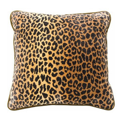 vanCollier - Leopard Pillow - Clarence House leopard print cotton/viscose velvet, woven in the USA. Pillow cover back is amber cotton velvet, made in the USA.  Insert is 80% down/ 20% feather composition.