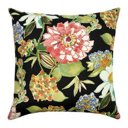 Land of Pillows - Mill Creek Pierette Licorice Black Floral Outdoor Patio Throw Pillows - Set of 4 - Fabric Designer - Mill Creek