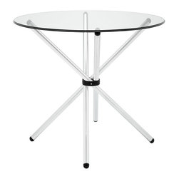 Modway - Modway EEI-1074 Baton Dining Table in Clear - Introduce an edgy style to your kitchen or dining room adventures with the Baton modern table. Topped with tempered glass, and a gathered �baton� base, collect your own assemblages of family and friends as you welcome in the (peacefully) unexpected. The chrome plated tubular base comes capped to prevent scratching.