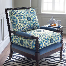 """Old Hickory Tannery - Suzani Spindle Chair - Blue and white...classic and always in style.  This color combo takes on a brand new twist when combined with the delightful patterns found in Suzani upholstery.28.5""""W x 35.5""""D x 37.5""""T; seat height 21""""; arm height 23.5""""."""