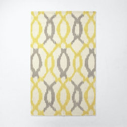 Ikat Links Wool Rug, Horseradish - The yellow and gray in this area rug are perfect for a gender-neutral nursery.