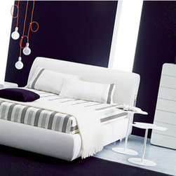 """Bontempi Casa - Portofino Queen Storage Platform Bed - Designed by: Erresse Studio Features: -Upholstered wooden frame.-Profile in gloss aluminum.-Covered removable fabric / aluminum profile.-Made in Italy.-Bed base distance to floor 11"""".-Bed base included.-Distressed: No.-Country of Manufacture: Italy.Dimensions: -Overall Dimensions: 40"""" H x 94"""" W x 67"""" D.-Overall Product Weight: 329 lbs."""