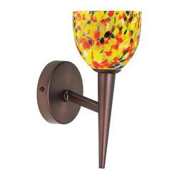 Dainolite - Oil Brushed Bronze Wall Lamp Yellow Mosaic Glass - -Main Body Material: Glass