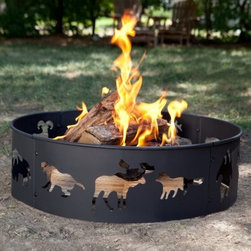 Landmann 28 in. Big Sky Wildlife Steel Fire Ring - The Landmann 28 in. Big Sky Wildlife Steel Fire Ring is the perfect way to add a little something to a campfire while keeping it safely contained. This 28-inch diameter ring features cutouts of wildlife animals that happily let the light out and steel construction that can definitely take the heat. With a ring this size there's plenty of room for plenty of logs so invite a few friends over and bask in the glow.