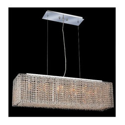 Elegant Lighting - Moda Clear Crystal Chandelier w 6 Lights in Chrome (Spectra Swarovski) - Choose Crystal: Spectra Swarovski. 6 ft. Chain/Wire Included. Bulbs not included. Crystal Color: Crystal (Clear). Chrome finish. Number of Bulbs: 6. Bulb Type: GU10. Bulb Wattage: 55. Max Wattage: 330. Voltage: 110V-125V. Assembly required. Meets UL & ULC Standards: Yes. 38 in. W x 9.5 in. D x 11 in. H (35lbs.)Description of Crystal trim:Royal Cut, a combination of high quality lead free machine cut and machine polished crystals & full-lead machined-cut crystals..SPECTRA Swarovski, this breed of crystal offers maximum optical quality and radiance. Machined cut and polished, a Swarovski technician¢s strict production demands are applied to this lead free, high quality crystal.Strass Swarovski is an exercise in technical perfection, Swarovski ELEMENTS crystal meets all standards of perfection. It is original, flawless and brilliant, possessing lead oxide in excess of 39%. Made in Austria, each facet is perfectly cut and polished by machine to maintain optical purity and consistency. An invisible coating is applied at the end of the process to make the crystal easier to clean. While available in clear it can be specially ordered in a variety of colors.Not all trims are available on all models.