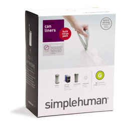 simplehuman - Code G Custom Fit Can Liners, 30 Liters, 50 Pack - Don't mess with the mess. These bags are made especially to fit inside the coordinating 30-liter can so that there's no untidy edge showing. What's more? They're thick, feature strong handles and seams and come in a value pack of 50. Spotless style is in your hand.