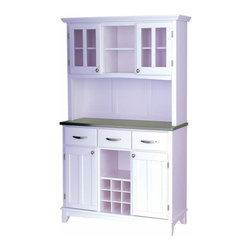 Home Styles - Home Styles Steel Top Buffet and 2-Door Hutch in White - Home Styles - Buffet Tables & Sideboards - 5100002322 - Smartly styled and equally practical for any dining or entertaining area the Home Styles Large Buffet and 2-Door Hutch has every one of your serving needs covered. Beginning with an easy-clean stainless steel table top ideal for any task this buffet is amply equipped with three spacious pull drawers an open central shelf above a 9-bottle wine rack and two large adjustable shelf compartments with inset-paneled doors. The accompanying hutch presents additional storage capacity with two open shelves and a pair of single shelf cabinets behind plexi-glass panel doors. Stylish brushed nickel handle and knob hardware join an arched apron and taper-cut feet in adding further character while a white/ivory finish adds a natural charm.