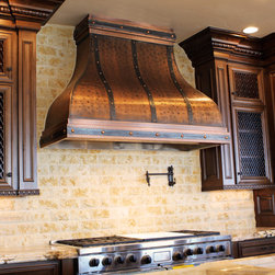 Art o Rain - Custom Copper Range Hood - by Art of Rain - Wide Camillia Range Hood is designed for kitchens with wide cabinet applications. Choose from hand made copper or iron forged straps attached with custom built copper buttons. Beautiful copper patina surface is easy to maintain and will hold it's color for years of enjoyment. Choose one of our designs or have your idea's brought to life. All of our range hoods are hand crafted with best quality care.