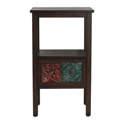 Elements - Elements Emblem Tile-drawer 30-inch Table - This Elements single-drawer table is both attractive and functional. It features top surface and lower shelf display space as well as a single drawer for storage. The front of the drawer is adorned with metal tiles featuring embossed emblem designs.