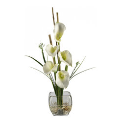 Nearly Natural - Calla Lilly Liquid Illusion Silk Flower Arrangement - Feast your eyes upon the wispy leaves and delicate hues of color that adorn this wondrous flower. Made of the finest material, the majestic beauty of this Lilly is held aloft by bamboo supports rising out of a bed of river rock submerged in artificial water. The sturdy, square glass vase brings this piece together, and gives it a poise that is unmatched.