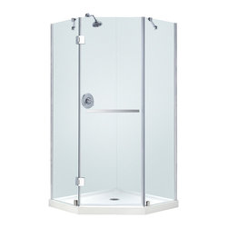 "BathAuthority LLC dba Dreamline - Prism-X Frameless Hinged Shower Enclosure, 40 3/8"" D x 40 3/8"" W x 72"" H, Chrome - The Prism-X shower enclosure has a unique corner installation design that saves space and becomes a beautiful focal point. A flowing frameless design and premium 3/8 in. thick tempered glass create the rich look of custom glass. The Prism-X is easy to install with innovative wall profiles and a wall-attached support bar. Add a DreamLine shower base and shower backwalls for a streamlined cost effective transformation."
