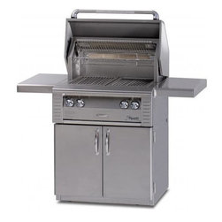 Alfresco - Alfresco ALX2 30-in All Infrared Grill on Cart | NG - Alfresco LX2 30 Inch All Infrared Grill Cart Model with Dedicated Smoker and Rotisserie This Alfresco Gas Grill features two Sear Zone ceramic infrared burner producing 55000 BTUs Integrated rotisserie with built-in motor & 15000 BTU infrared burner moker with 5000 BTU dedicated burner & oversize wood chunk drawer 542 sq. In. Actual grilling area plus four position adjustable warming rack Dual integrated high-intensity halogen work lights and User-friendly pushbutton ignition with sealed 9v power source. This gas grill also includes 30 Inch Freestanding Grill Cart with (2) Access Doors. Alfresco ALX2-30 AG-30C (All Conventional Burners) shown - cooking grids differ on actual grill.