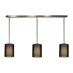 Z-Lite - Z-Lite 3 Light Island/Billiard - This contemporary fixture uses three rectangular, black outer organza shades to allow a glimpse of the inner opaque shades, which emanate a soft glow. The hardware is finished in brushed nickel and includes telescoping rods to ensure a perfect hanging height. This fixture would be perfect for any contemporary space.