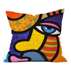 """Gretchen Buys a Hat"" Accent Pillow - Want to transform a serious room into a fun space? Add a pop of color to your sofa or bed with an accent pillow that's a work of art. Reproduced from an original painting by Steven Scott, this colorful and playful pillow is sure to be a conversation starter. Buy happy!"
