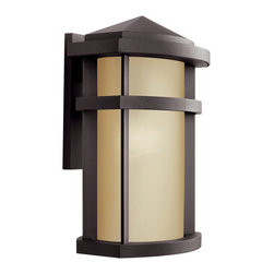 Kichler - Kichler 1-Light Outdoor Fixture - Architectural Bronze Exterior - One Light Outdoor Fixture Casual styling is infused with contemporary and mission influences for a stylish look. From the lantana collection, this lighting outdoor wall sconce sets a warm architectural bronze finish against a light umber glass shade. U. L. Listed for wet locations. Height from center outlet: 4""