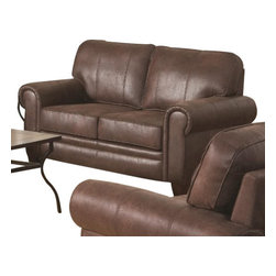 "Coaster - Love Seat (Brown) By Coaster - Exuding a rustic personality, the Bentley loveseat will fit well in any traditional styled living room. Features durable pocket coil seating wrapped in a plush coated brown microfiber. Matching pieces available separately. Dims: 62"" X 34"" X 37""."