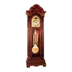 "Ridgeway Clocks - All Wood Grandfather Clock with Oversized Dia - This elegant grandfather clock is a great conversation piece, and is sure to be a sophisticated touch to any home. The clock can play your choice of Westminster, St. Michael, or Whittington chimes, and it also features an automatic night silence option. This distinguished clock boasts elegant raised Arabic numerals and an oversized dial. * Glen Arbor cherry finish on select hardwoods and crotch veneers, rubbed crotch veneers and accent bands are displayed on the multi-stepped arched bonnet.. Full side crown returns.. The large oversize dial, framed in 1/2"" solid wood has acid etched corner spandrels and center design with raised black Arabic numerals on the chapter ring and functioning lunar arch.. A large lyre pendulum with twisted rods and 10 7/8"" (275mm) bob and center design matches the dial and banded weight shells, is visible through a beautifully shaped 1 inch beveled glass locking door.. The mechanical cable movement plays a choice of Westminster, St. Michael and Whittington chimes.. An automatic night silence option comes with this movement.. H 90"" (229cm), W 28"" (71cm) D 16 1/2"" (42cm)"