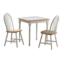 Boraam - Boraam Square Tile Top 3 Piece Dinette Set in White and Natural - Boraam - Dinette Sets - 70301 - Boraam's high quality products are well styled and priced right. Benefitting from years of experience in the industry Boraam knows what you look for in quality furniture and takes pride in getting orders out as diligently as possible. Feel confident that Boraam will take your living space to another level.