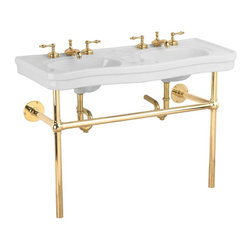 "Renovators Supply - White China Double Console Sink Bistro Brass 8"" - Double Sink Vanity: Belle Epoque double deluxe."
