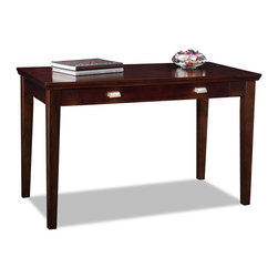 Leick Furniture - Writing Desk in Chocolate Cherry Finish - Transitional style. Drop down drawer front for keyboard or laptop storage. Durable full extension ball bearing drawer guides. Wire retaining grommet on back. Made from hardwood solids and birch veneers. Assembly required. 48 in. W x 23 in. D x 30 in. H (68 lbs.)Perfect for laptops or to hide away papers or a desktop keyboard, this delicately scaled desk offers abundant organization assistance in just a tiny space.