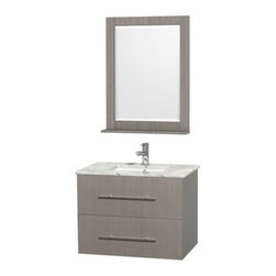 """Wyndham Collection(R) - Centra 30"""" Single Bathroom Vanity for Undermount Sinks by Wyndham Collection - G - The Wyndham Collection is an entirely unique and innovative bath line. Sure to inspire imitators, the original Wyndham Collection sets new standards for design and construction.Simplicity and elegance combine in the perfect lines of the Centra vanity by the Wyndham Collection®. If cutting-edge contemporary design is your style then the Centra vanity is for you - modern, chic and built to last a lifetime. Available with green glass, pure white man-made stone, ivory marble or white carrera marble counters, and featuring soft close door hinges and drawer glides, you'll never hear a noisy door again! The Centra is available with porcelain sinks and matching mirrors. Meticulously finished with brushed chrome hardware, the attention to detail on this beautiful vanity is second to none.Centra Bathroom Vanities are available here in multiple sizes and finishes and are now available with optional CaesarStone® counters!FeaturesConstructed of environmentally friendly, zero emissions solid Oak hardwood, engineered to prevent warping and last a lifetime12-stage wood preparation, sanding, painting and finishing processHighly water-resistant low V.O.C. sealed finishUnique and striking contemporary designModern Wall-Mount DesignMinimal assembly requiredDeep Doweled DrawersFully-extending under-mount soft-close drawer slidesConcealed soft-close door hingesCounter options include Green Glass, Pure White Man-Made Stone, Ivory Marble, White Carrera Marble, and CaesarStone (many colors available)Backsplash not availableAvailable with Porcelain undermount sink(s) Pre-drilled for asingle hole faucetFaucet(s) not includedMetal exterior hardware with brushed chrome finishOne (1) functional doorOne (1) functional drawerMatching mirror(s) availablePlenty of storage spacePlenty of counter spaceVariations in the shading and grain of our natural stone products enhance the individuality of y"""