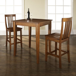 Crosley Furniture - 3 Pc Pub Dining Set w School House Stools in - Includes Pub Table with Cabriole Leg and 2 School House Stools in Classic Cherry. Solid Hardwood & Veneer Construction Table . Solid Hardwood Stools. Hand Rubbed, Multi-Step Finish. Solid Hardwood, Carved Cabriole Style Legs. Shaped Back for Comfort. Table Dimensions: 36 in. H x 32 in. W x 32 in. D. Stool Dimensions: 40 in. H x 18.5 in. W x 22.5 in. DConstucted of solid hardwood and wood veneers, the 3 piece Pub / High Dining set is built to last. Whether you are looking for dining for two, or just a great addition to the basement or bar area, this set is sure to add a touch of style to any area of your home.