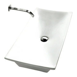 Caracalla - Rectangular White Ceramic Vessel Bathroom Sink, No Hole - Modern style, rectangular white ceramic vessel bathroom Sink with no hole. Beautiful above counter washbasin comes without overflow. Made in Italy by Caracalla.