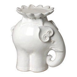 "Kathy Kuo Home - White Ceramic Elephant Candle Stand- 12""H - A symbol of dignity and power, the elephant brings good vibes. And this curvy, elegant creature also serves a purpose, lofting a candle on its back to warm your world with a soft, romantic glow."