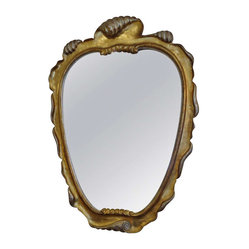 Deco Shell Motiffe Vintage Gold Mirror - Lovely medium sized art deco mirror, finished in a gold and silver leaf, wonderful swirly design.
