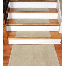 "Dean Flooring Company - Dean Premium Wool Carpet Stair Treads - Madison Natural (13) 30""x9"" & Mat - Dean Premium New Zealand Wool Carpet Stair Treads - Madison Natural (13) 30"" x 9"" Plus a Matching 2' x 3' Landing Mat : Premium Wool Carpet Stair Treads by Dean Flooring Company. Color: Madison Natural. Material: 70% New Zealand Wool and 30% Olefin. Face Weight: 56 oz. Edges: Finished (serged) with attractive color matching yarn. Size: Approximately 30"" x 9"". Set includes 13 stair treads plus a matching 2' x 3' landing mat.  Easy to spot clean and vacuum. Helps prevent slips on your hardwood stairs. Great for helping your dog easily navigate your slippery staircase. Reduces noise. Reduces wear and tear on your hardwood stairs. Attractive: adds a fresh new look to your staircase. Easy DIY installation with double sided carpet tape or (not included - sold separately). WOOL is the traditional fiber used to make rugs, and it's no big mystery why. Besides being luxurious to the touch, wool can be dyed to beautiful rich colors, is fire-resistant, stain resistant, non-allergenic and holds up well over time. Also, wool is biodegradable and a renewable resource, making it a green choice as well as an elegant one. Add a touch of warmth and style to your home today with stair treads from Dean Flooring Company!"