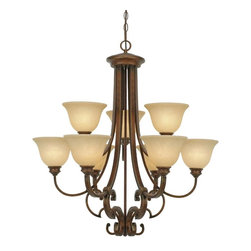 Golden Lighting - Rockefeller CB 2-Tier Chandelier - Bulbs not included. Requires nine 60 watt medium base incandescent type A bulbs. Total wattage: 540W. Electric wire gauge: SPT-1 18# 105°C. Traditional style. Square arm shape and decorative bracing. Works well with countless color schemes. Tea stone glass creates warmth. UL listing: dry. Nine E27 sockets. Made from metal, glass and poly resin. Champagne bronze color with antique patina highlights. Chain length: 6 ft.. Wire length: 10 ft.. Shade: 7.5 in. Dia. x 5 in. H. Canopy extension: 1.5 in.. Canopy: 6.5 in Dia.. Overall: 31.25 in. W x 34 in. H (29.04 lbs.). Warranty. . Assembly InstructionsA chandelier creates a stylish focal point. Graciously sized for taller dining and living areas.