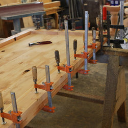"""Building-Reclaimed-Wood-Dining-Table-Top - Building with reclaimed wood. This will be a 9ft table top 3""""thick for a wine tasting room."""