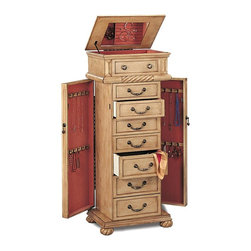 Coaster - Jewelry Armoire - Imagine being able to organize your entire jewelry collection within this tall jewelry armoire with antique styling. Its lovely pink felt lining ensures that your jewelry receives the softest touch while in storage with 8 drawers and 2 side doors offering plenty of room. * Antique Cream finish. Seven felt lined drawers. Two side doors. Metal drawer pulls. Lid with mirrored interior. Doors provides plush resting place for rings, necklaces and earrings. Carved twist details on top echoed in subtle curves of twisted bun feet. Sturdy yet stylish base. Antique white finish with green tint. 18 in. W x 13 in. D x 43.5 in. H. WarrantyThe antiqued finish on this jewelry armoire makes it an exceptional fit for your shabby chic style bedroom. A lid with mirrored interior reflects the rings, earrings and delicate items tucked within its lined compartments and completes the vintage appeal of this jewelry armoire.