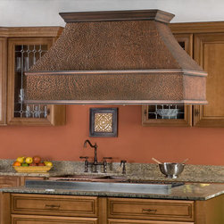 """54"""" Tuscan Series Copper Island Range Hood - Add a designer look to your kitchen with the 54"""" Tuscan Series Copper Island Range Hood. This high-quality kitchen exhaust is offered with three halogen lights and three dishwasher safe stainless steel filters."""