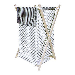 Trend Lab - Trend Lab Medallions Crib Bedding Collection - Hamper Set - The Medallions Hamper by Trend Lab is a decorative solution for quick clean up. The mini starburst print body and stripe print outer flap easily attaches to the collapsible pine wood frame. The fashionable color palette of black white and shades of cool gray make this hamper suitable for any room of the house. Machine washable inner mesh liner is removable making the transport of laundry effortless. Assembled hamper measures 27 x 15 x 15.