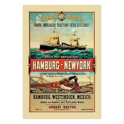 """Buyenlarge.com, Inc. - Direct Post Office Shipping Hamburg to New York - Paper Poster 20"""" x 30"""" - Another high quality vintage art reproduction by Buyenlarge. One of many rare and wonderful images brought forward in time. I hope they bring you pleasure each and every time you look at them."""