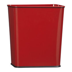 Polder® Red 7-Gallon Trash Can with Bag Band - Life meets style™ at the intersection of form and function courtesy of the bright minds at Polder® Housewares. Conveniently sized for under the counter and other smaller spaces, this durable waste can in bright red powdercoated steel has a generous seven-gallon capacity requiring less frequent emptying. A sturdy rubber band secures the bag liner, while the protective rubber base won't harm flooring.