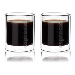Tag - Classic Double Wall Espresso Glass - Set of 2, Clear by Tag - Our Classic double wall espresso glass with sleek Scandinavian styling. Double-wall borosilicate glass insulates the hand from hot liquids, and helps keep your favorite caffeinated beverage hot. Perfect gift for anyone who loves espresso served with European flair. Great bridal gift, too!