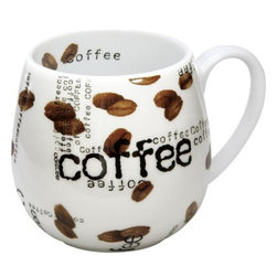 Konitz - Set of 2 Snuggle Mugs Coffee Collage - Give your morning joe an extra jolt with the Coffee Collage collection. The cool, contemporary style of Coffee Collage Snuggle Mugs consists of white porcelain sprinkled inside-and-out with photo-realistic coffee beans and black 'Coffee' lettering.