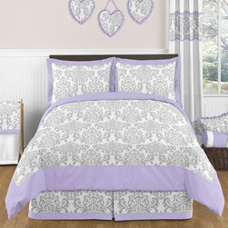 Sweet Jojo Designs - Sweet Jojo Designs Girls 3-piece Elizabeth Full/Queen Comforter Set - The Sweet Jojo Designs 3-piece Elizabeth bedding collection will create a stunning boutique setting for your child. Boasting a damask print,this set features a gorgeous gray,lavender,and white finish