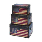 Benzara - Wooden and Leather Trunk with American Flag Design - Set of 3 - If your home interiors are missing some suave and uniqueness, then the Leather and Wooden trunk is a perfect addition that will revamp your settings with its rustic look. The worn out distressed appearance adds an antique feel to it that makes it immensely attractive to look at. The casual styling combined with the ruggedness makes it look like a vintage crate that has survived over the years. The supreme quality of wooden adds to the stability and strength making it suffice the daily wear and tear and prolongs usage. The stylish quotient blended with unique features adds to the vintage appeal that is hard to overlook. Crafted to perfection, this one of a kind accessory that is an exquisite and rare find. It is available in 3 size variants - 11 in.  H x 19 in.  W x 12 in.  D, 13 in.  H x 22 in.  W x 14 in.  D, 15 in.  H x 24 in.  W x 16 in.  D.