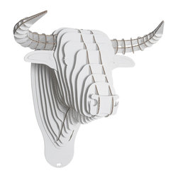 Cardboard Safari - Toro Bull Trophy Head - Large, White, Large - Our Bull Cardboard Trophies are laser-cut for precision fit and easy assembly using slotted construction. They look great in their native brown or white and can be decorated with paint, glitter, wrapping paper or other craft materials.