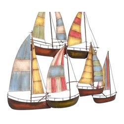 """Handcrafted Model Ships - Metal Colorful Wall Decor Sailboats 34"""" Coastal Decorating Living Room - New - As a colorful fleet of sailboats seems to glide along your wall without actually moving, this nautical decor wall art sets a fun-filled seaside tone for any room. Perfect for a living room or meeting room, with this hand-worked metal sculpture every day can be like one spent at the marina."""